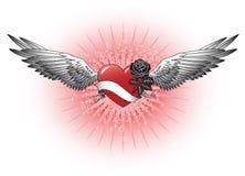 Corazón rojo con las alas ilustración del vector