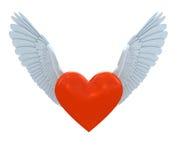 Corazón rojo con las alas Fotografía de archivo libre de regalías