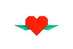 Corazón rojo con las alas Imagen de archivo