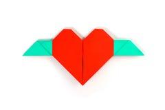 Corazón rojo con las alas Imágenes de archivo libres de regalías