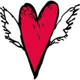 Corazón rojo con las alas blancas Bosquejo, garabato Vector Imagen de archivo libre de regalías