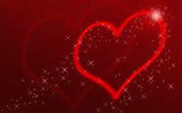 Corazón rojo con las estrellas Imagenes de archivo