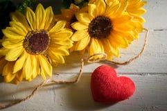 Corazón rojo con las flores del sol Fotos de archivo libres de regalías