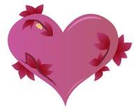 Corazón rojo con las hojas Fotografía de archivo