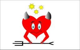 Corazón rojo con los cuernos en el fondo blanco Imágenes de archivo libres de regalías