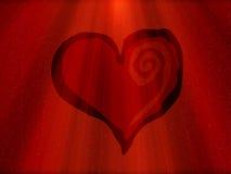 Corazón rojo con los rayos Imagenes de archivo