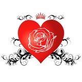 Corazón rojo con una rosa Fotografía de archivo libre de regalías