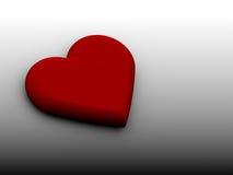 Corazón rojo 3D en el fondo negro blanco Foto de archivo
