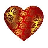 Corazón rojo de gran capacidad con las rosas Fotos de archivo