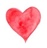 Corazón rojo de la acuarela Fotografía de archivo libre de regalías