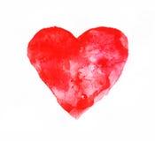 Corazón rojo de la acuarela Imagenes de archivo