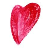 Corazón rojo de la acuarela aislado en el fondo blanco Tarjeta del día de tarjetas del día de San Valentín del día de fiesta Pint Imagenes de archivo