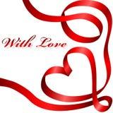 Corazón rojo de la cinta Fotos de archivo libres de regalías