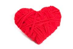 Corazón rojo de la cuerda de rosca Imágenes de archivo libres de regalías