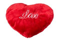 Corazón rojo de la felpa aislado en blanco Imagen de archivo