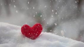 Corazón rojo de la felpa en nieve almacen de metraje de vídeo