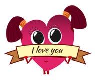 Corazón rojo de la historieta el día del ` s de la tarjeta del día de San Valentín Carácter femenino lindo con Imagen de archivo
