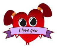 Corazón rojo de la historieta el día del ` s de la tarjeta del día de San Valentín Carácter lindo con un bann Fotos de archivo