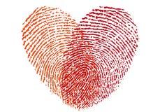 Corazón rojo de la huella dactilar, vector Imágenes de archivo libres de regalías