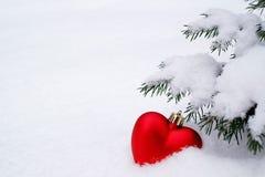 Corazón rojo de la Navidad del Año Nuevo en la nieve debajo del árbol Yo del amor Imagen de archivo libre de regalías