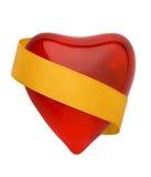 Corazón rojo de la tarjeta del día de San Valentín con el golde Imagen de archivo libre de regalías