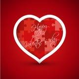 Corazón rojo de la tarjeta del día de San Valentín del rompecabezas Imágenes de archivo libres de regalías