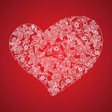 Corazón rojo de la tarjeta del día de San Valentín en estilo floral Fotos de archivo libres de regalías