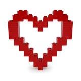 Corazón rojo de la tarjeta del día de San Valentín hecho de Lego Blocks Foto de archivo