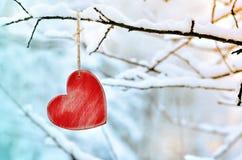 Corazón rojo de madera en rama de árbol nevosa en invierno Imagenes de archivo