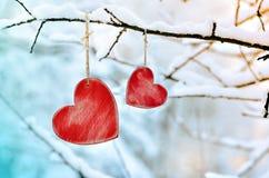 Corazón rojo de madera en rama de árbol nevosa en invierno Fotos de archivo libres de regalías