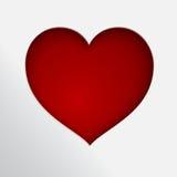 Corazón rojo de papel de Cutted Fotos de archivo