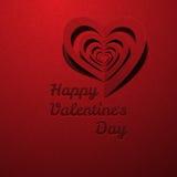 Corazón rojo decorativo con el día de tarjeta del día de San Valentín de la sombra Foto de archivo libre de regalías