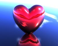 Corazón rojo del amor 3D stock de ilustración