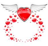 Corazón rojo del amor con volar blanco de las alas stock de ilustración