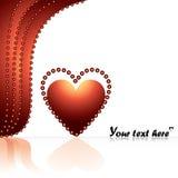 Corazón rojo del amor en la etapa, cortina roja Foto de archivo libre de regalías