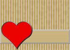 Corazón rojo del cromo en rayas de la plata y del oro Fotos de archivo libres de regalías