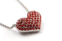 Corazón rojo del diamante Imagenes de archivo