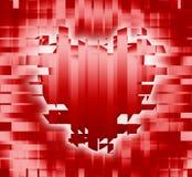 Corazón rojo del grunge en la tela escocesa Imágenes de archivo libres de regalías