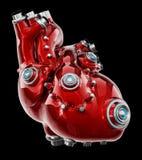 Corazón rojo del mecánico artificial aislado en negro ilustraci?n 3D stock de ilustración