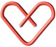 Corazón rojo del papel-clip Foto de archivo libre de regalías