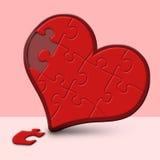 Corazón rojo del rompecabezas Fotografía de archivo libre de regalías