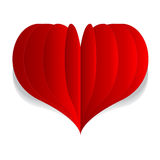 Corazón rojo del vector de la papiroflexia Foto de archivo