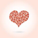 Corazón rojo dibujado mano con muchos pedazos Corazón en fondo rosado Imágenes de archivo libres de regalías