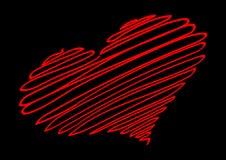 Corazón rojo El hilo rojo forma la silueta del corazón ilustración del vector