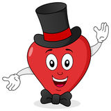 Corazón rojo elegante con el sombrero de copa y la corbata de lazo Imagen de archivo