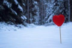 Corazón rojo en la nieve Foto de archivo libre de regalías