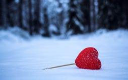 Corazón rojo en la nieve Imágenes de archivo libres de regalías