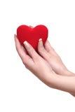Corazón rojo en manos femeninas Imágenes de archivo libres de regalías