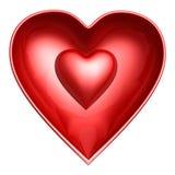 Corazón rojo en shell del corazón Fotografía de archivo