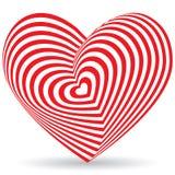 Corazón rojo en un fondo blanco Ilusión óptica de 3D tridimensional Imagenes de archivo